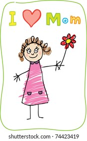 Kids Drawing. The Mother's Day. I love Mom