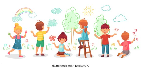 Kids drawing on wall. Childrens group draw color paintings on walls, child paint art or kindergarten kid painting rainbow, trees and clouds. Creative children drawing cartoon vector illustration