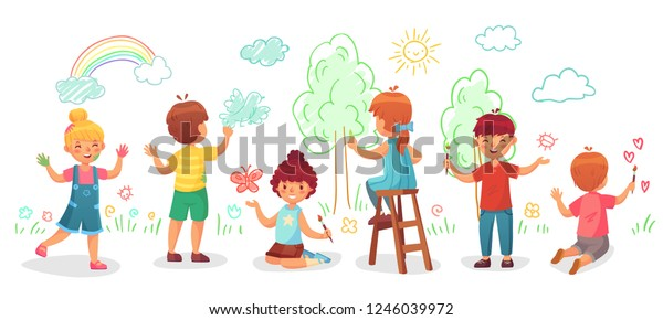 Kids Drawing On Wall Childrens Group Stock Vector Royalty Free