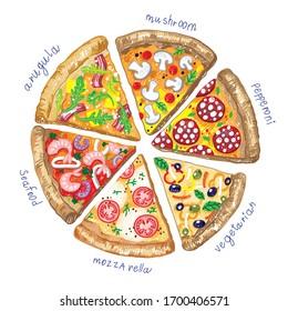 kids drawn pizza slice mozzarella seafood vegetarian pizza arugula mushroom pepperoni Italian food