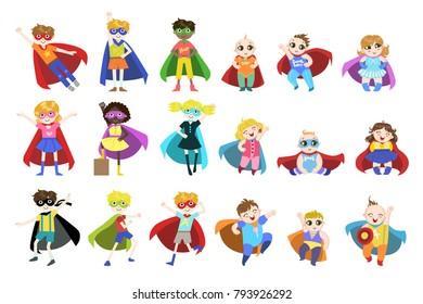 Kids Dressed as Superheroes Set