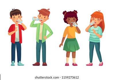 Kids drink glass of water. Happy youth thirst boy and girl drinks. Children refreshing drinking hydration level care, fresh people youthful vector cartoon isolated icons illustration set