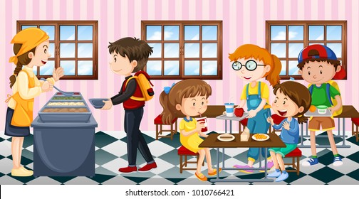 Kids eating lunch at the canteen illustration