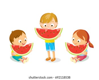 Kids eating watermelon isolated on white