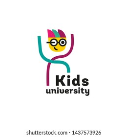 Kids education logo for a learning center. University, school for children. The child in the glasses. Graph of function. Back to school. Science theme. Geek. Logo, sign template. Vector.