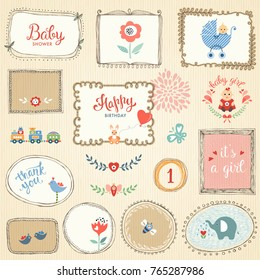 Kids elements, hand drawn frames, flowers, birds, little girl, cartoon elephant, cute rabbit, butterfly, bee, baby carriage, toys and typographic design.