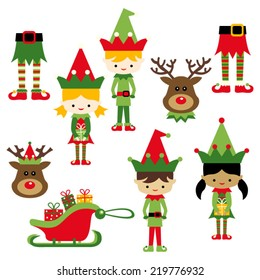 Kids in elf costumes. Cute vector clip art illustration for christmas.