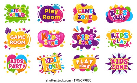 Kids entertainment badges. Game room party labels, children education and entertainment club elements. Baby playing zone vector illustration set. Playroom area, child and kids zone for game