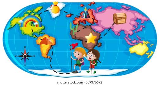 Kids exploring the world illustration