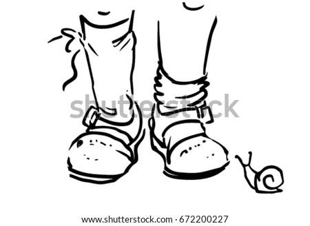 Kids Feet Summer Sandals Socks Snail Stock Vector Royalty Free
