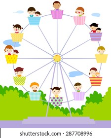Kids and the ferris wheel  Vectors All Images Photos Vectors Illustrations