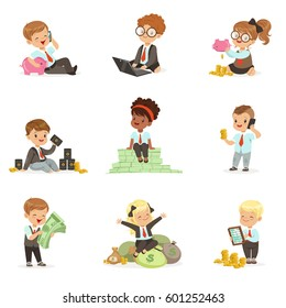 Kids In Financial Business Set Of Cute Boys And Girls Working As Businessman Dealing With Big Money