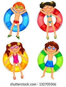 kids floating on inflatable rings (JPEG available in my gallery)