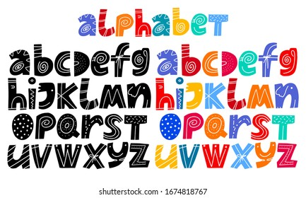 Kids font in the cartoon style, alphabet. Set of black and multicolored bright letters for inscriptions and your design. Childish alphabet letters isolated on white background. Vector illustration.