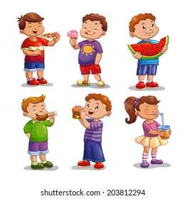 Kids with food and drink, isolated vector