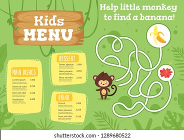 Kids food menu design template with cute character - monkey on green  jungle rainforest background. Children education board game or maze.