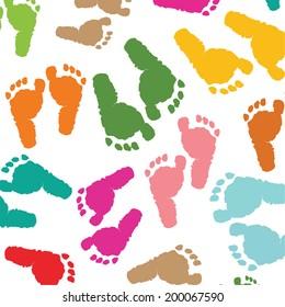 Kids footprints pattern vector
