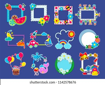 Kids frame vector childish framing picture or child photo on wall for decoration babyroom illustration set of decorative border with toys or balloons for birthday photography isolated on background