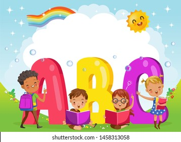 Kids with friends and abc letters. Design of figures and children's cartoon characters.Vector Illustration Isolated on the background of the sky, the sun and the rainbow across the clouds.