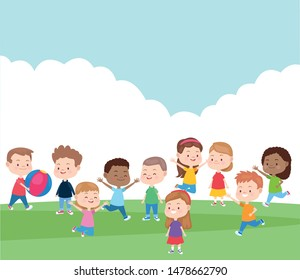 Kids friends playing and smiling in the park, outdoors and nature scenery. vector illustration graphic design.