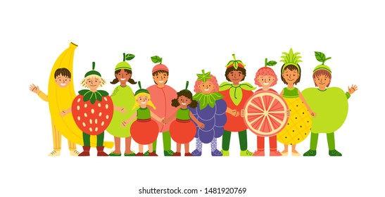 Kids in fruit clothing flat vector illustration. Smiling children wearing funny costumes cartoon characters. Healthy nutrition. Cheerful boy and girls dressed in berry and fruit clothes