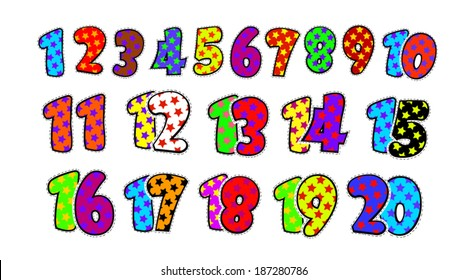 Kids fun numbers from 1 to 20 . Vector