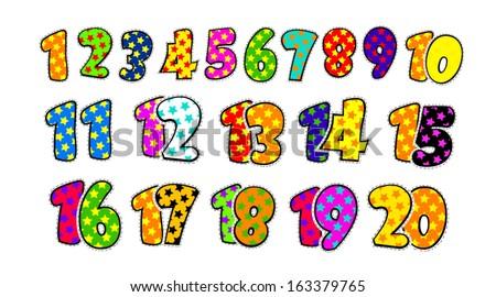 kids fun numbers 1 20 arkistovektori tekijänoikeusvapaa 163379765