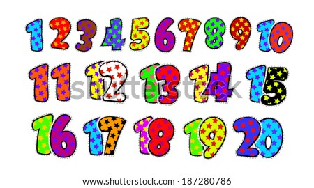 kids fun numbers 1 20 vector stock vector royalty free 187280786