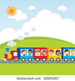 Kids fun on circus train. Vector illustration of diversity kids on circus train waving their hands.