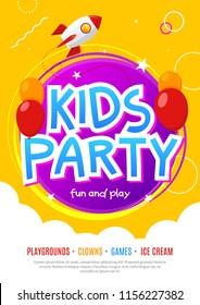 Kids fun party celebration flyer design template. Child event banner decoration. Birthday invitation poster background.