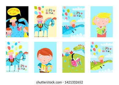 Kids Fun Reading Books Balloons Birthday Fairy Tales Event Cards Collection. Collection of ready children event designs with dragon horse reading books poster collection. Birthday cards or book covers
