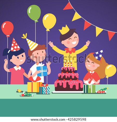 Kids In Funny Hats Celebrating A Boy Wearing Crown Birthday With Gifts Big Cake
