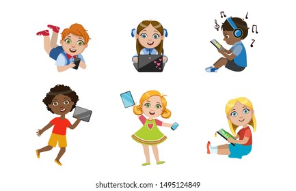 Kids with Gadgets Set, Cute Smiling Boys and Girls Characters Using Tablet, Smartphone, Laptop, Media Player Vector Illustration