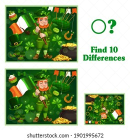 Kids game find ten differences. Vector cartoon St Patricks day Leprechaun character with flag and festive attributes pot with gold, lucky clover, sweets. Educational children riddle, leisure activity