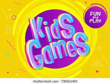 Kids Games Vector Background in Cartoon Style. Bright Funny Banner for Children's Playroom Decoration. Colorful Graphic for Kids Game Room. Children's Leisure Activities.