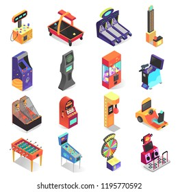 Kids gaming machine isometric icon set, electronic entertainment. Fun terminal for public places, malls, restaurants and amusement arcades. Vector game machine illustration on white background