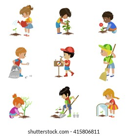 Kids Gardening Set Of Flat Outlined Cartoon Vector Design Drawings Isolated On White Background