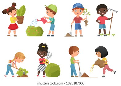 Kids gardening vector illustration set. Cartoon flat garden work collection with happy friends children characters planting and watering greenery, standing with green plant in hand isolated on white