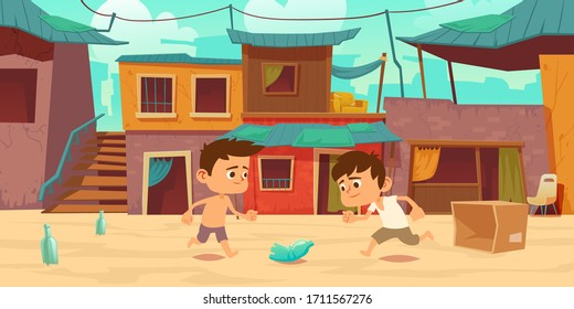 Kids in ghetto playing football with old plastic bottle and carton box. Children play soccer at slum area with huts buildings with curtains and cracked walls. Poor district Cartoon vector illustration