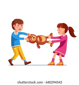 Kids girl and boy brother & sister fighting over a toy. Tearing teddy bear apart pulling it holding legs and head. Flat style character vector illustration isolated on white background.