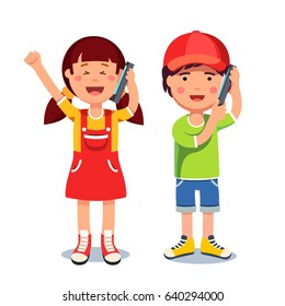 Kids girl and boy talking on a mobile cell smart phones. Flat style character vector illustration isolated on white background.