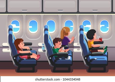 Kids girls & boys traveling by jet plane together. School students group going on summer holiday. Passenger airplane interior. Children looking out of porthole. Flat style vector illustration