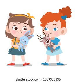 kids girls play with doll vector illustration isolated