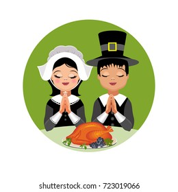 Kids Give Thanks. Girl and boy in traditional clothes. Vector Illustration.