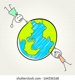 kids and globe concept , vector illustration
