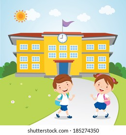 Kids go to school. Vector illustration of school boy and girl going to school in the morning.