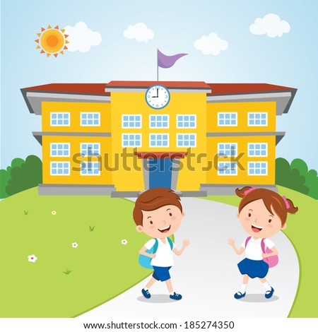 kids go school vector illustration school stock vector royalty free