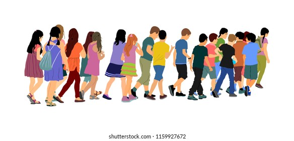 Kids going to school together, vector illustration. Back to School. Happy boys and girls. School kids excursion vector illustration. Children crowds. Children in big group. Friends cross the street.