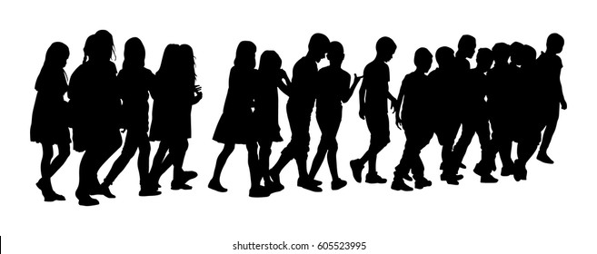 Kids going to school together, vector silhouette illustration. Back to School. Happy boys and girls. School kids excursion vector illustration. Children crowds. Children in big group cross the street.