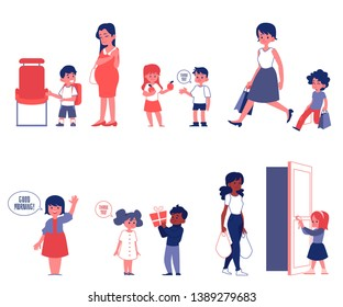 Kids good manners and polity set of flat vector Illustrations isolated on a white background. Children helping adults and thanking each other scenes of good behavior.